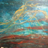 Pigment i  olie og kridt på masonitplade 120 x 120 cm